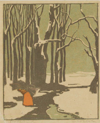 Holzsammlerin im Walde  -  Woman gathering wood in a forest