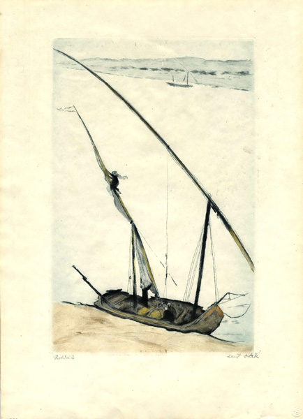 Nil Liegende Feluke   -   Felucca on a Bank of the Nile